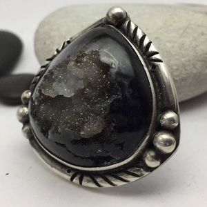 NEW OOAK Druzy sterling silver statement ring